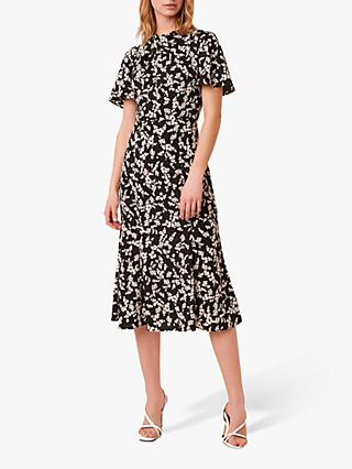 French Connection Bruna Floral Midi Dress, Black/Multi