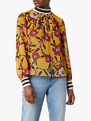 French Connection Eloise Floral Print Long Sleeved Crinkle Top, Mustard Seed/Multi