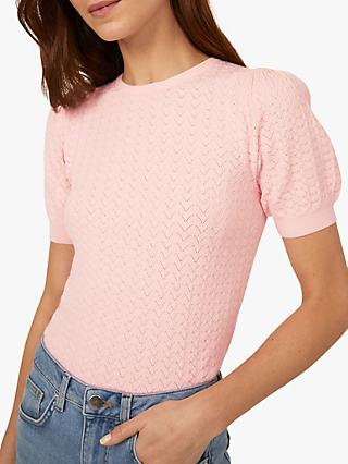 Warehouse Stitched Puff Sleeve Top, Light Pink