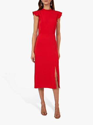 Warehouse Ruffle Sleeve Shirt Dress, Bright Red