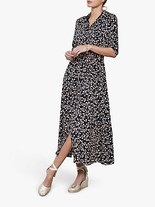 Mint Velvet Katie Floral Midi Dress, Dark Blue