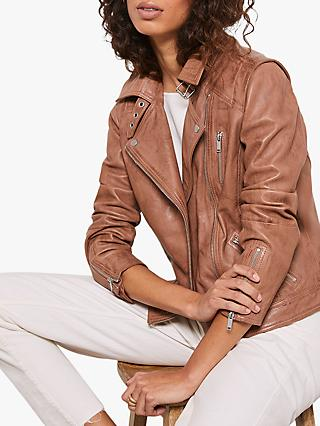 Mint Velvet Leather Biker Jacket, Brown/Multi