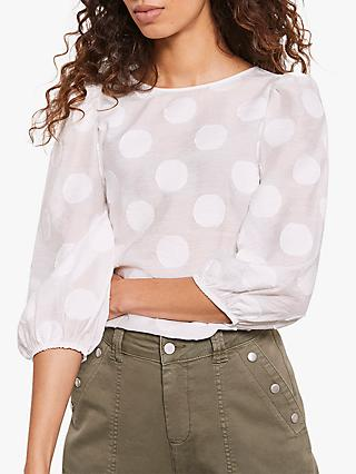 Mint Velvet Spot Puff Sleeve Top, Ivory
