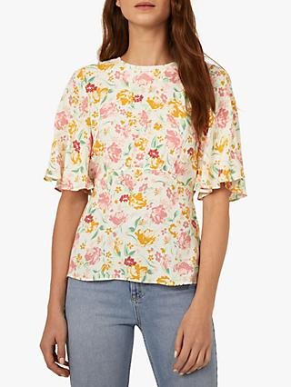 Warehouse Floral Angel Sleeve Top, Neutral Print
