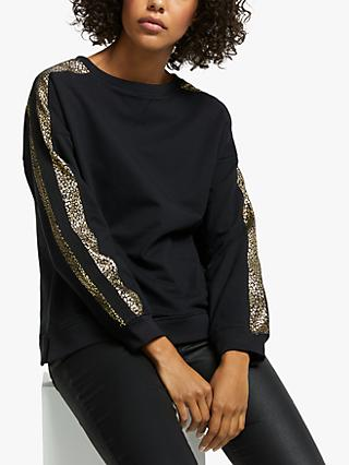 AND/OR Mila Leopard Print Sleeve Sweatshirt, Black