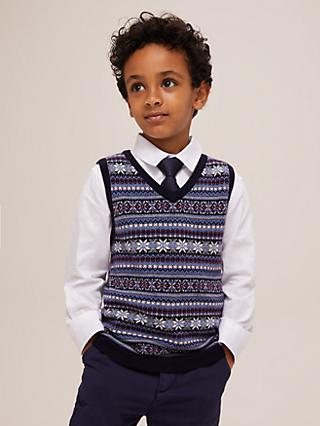 John Lewis & Partners Heirloom Collection Boys' Fair Isle Knit Tank Top, Blue