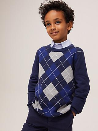 John Lewis & Partners Heirloom Collection Boys' Argyle Knit Jumper, Blue
