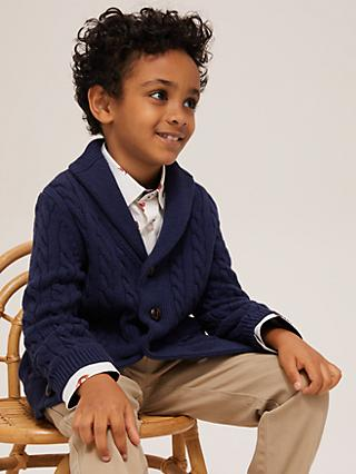 John Lewis & Partners Heirloom Collection Boys' Shawl Neck Cardigan, Navy