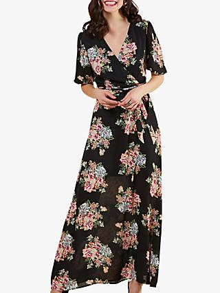 Yumi Rose Print Maxi Dress, Black