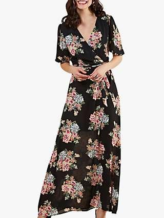 Yumi Rose Print Maxi Dress, Black