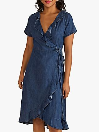 Yumi Denim Wrap Dress, Blue