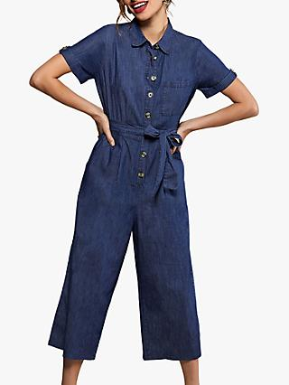 Yumi Cotton Button Jumpsuit, Blue