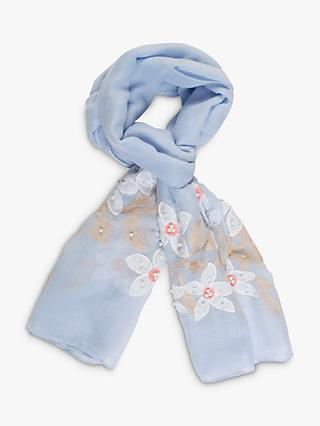 chesca Blue Daisy Scarf, Pastel Blue