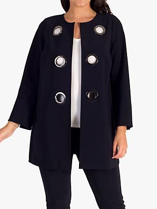 chesca Eyelet Embellished Split Cuff Jersey Coat, Navy