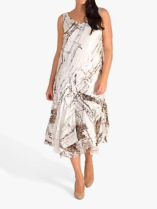 Chesca Satin Devoree Abstract Print Dress, Ivory/Mocha