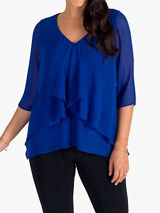 Chesca Chiffon Long Sleeve Top, Cobalt