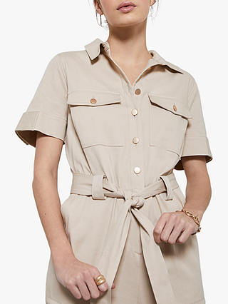 Buy Mint Velvet Belted Short Sleeved Boilersuit, Beige, 8 Online at johnlewis.com