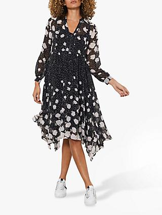 Mint Velvet Pandora Floral Midi Dress, Black