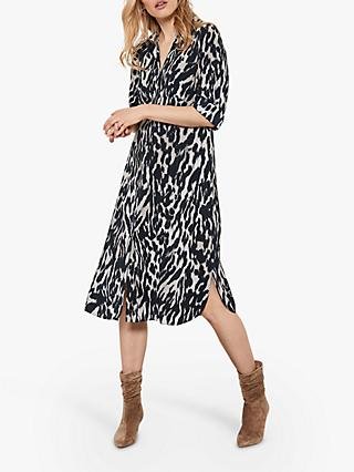 Mint Velvet Josie Leopard Print Shirt Dress, Grey