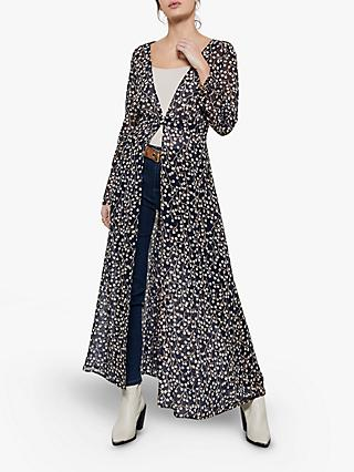 Mint Velvet Katie Floral Full Length Cover Up, Black