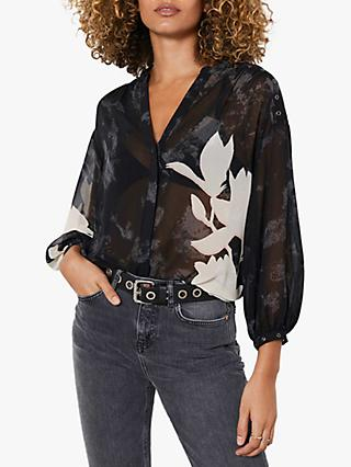Mint Velvet Monica Floral Blouse, Black/White