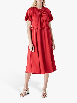 Finery Brenna Frill Midi Dress, Red