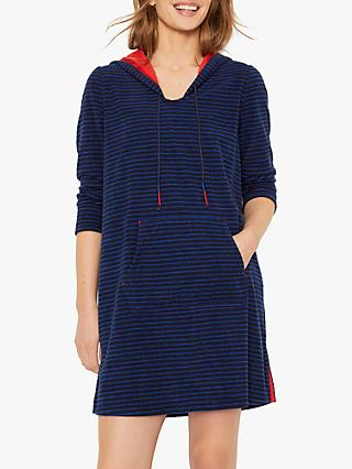 White Stuff Stripe Long Towelling Hoodied Sweatshirt, Rich Navy