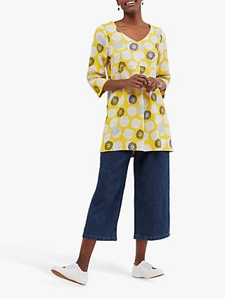White Stuff Bailey Geometric Print Linen Tunic Top, Yellow/Multi