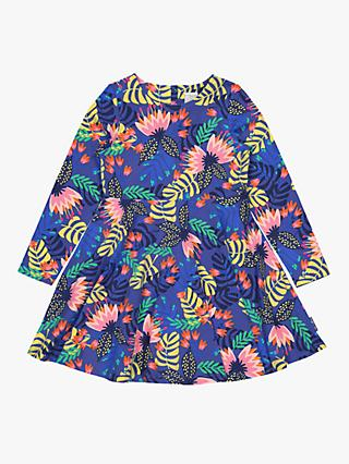 Polarn O. Pyret Children's Organic Cotton Tropical Print Dress, Blue