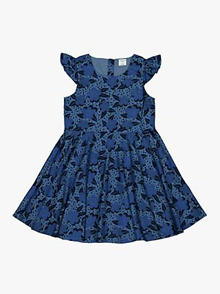 Polarn O. Pyret Girls' Floral Printed Dress, Blue