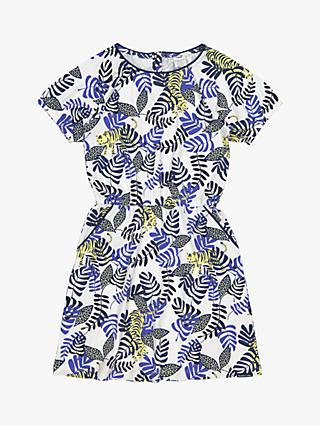 Polarn O. Pyret Girls' GOTS Organic Cotton Tiger Printed Dress, White