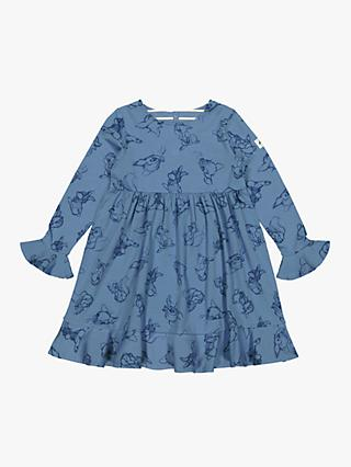 Polarn O. Pyret Girls' GOTS Organic Cotton Bambi Dress, Blue