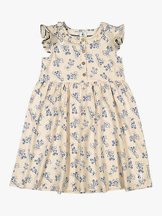 Polarn O. Pyret Girls' GOTS Organic Cotton Mickey Mouse Dress, Beige