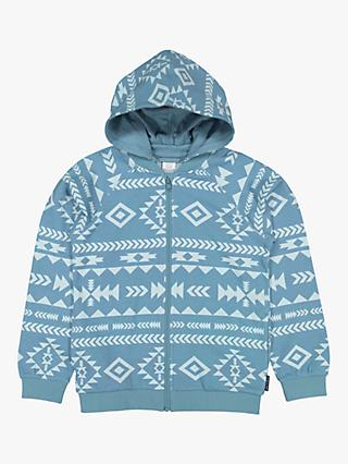 Polarn O. Pyret Children's Organic Cotton Aztec Print Hoodie, Blue