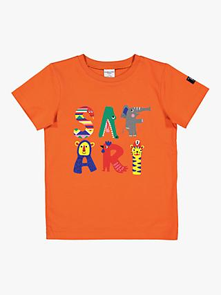 Polarn O. Pyret Children's GOTS Organic Cotton Safari Print T-Shirt, Orange