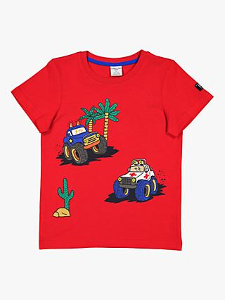 Polarn O. Pyret Children's GOTS Organic Cotton Car T-Shirt, Red