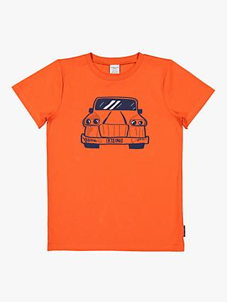 Polarn O. Pyret Children's GOTS Organic Cotton Car Graphic T-Shirt, Orange