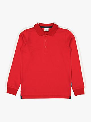 Polarn O. Pyret Children's Organic Cotton Polo Top, Red
