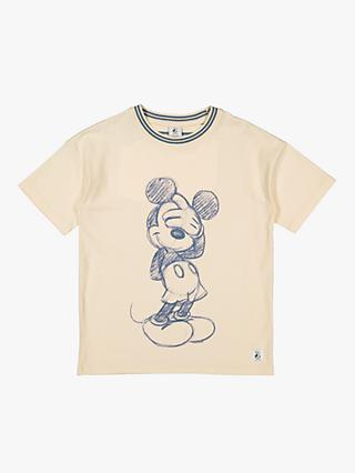 Polarn O. Pyret Children's Organic Cotton Mickey Mouse Oversized T-Shirt, Beige