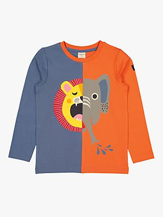 Polarn O. Pyret Children's GOTS Organic Cotton Split Animal Top, Orange/Grey