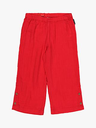 Polarn O. Pyret Children's GOTS Organic Cotton Cheese Cloth Trousers, Red
