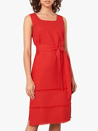 Jaeger Square Neck Fringed Hem Dress, Red