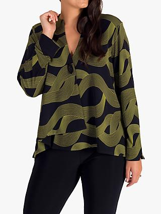chesca Abstract Wave Print Asymmetric Jersey Jacket, Navy/Lime