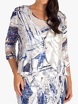 chesca Satin Devoree Abstract Print Shrug, Ivory/Cobalt