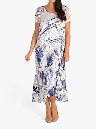 chesca Devoree Abstract Maxi Dress, Ivory/Cobalt