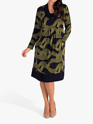 Chesca Wavy Lines Jersey Dress, Navy/Lime