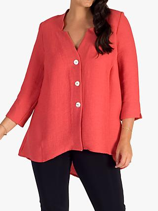 chesca Fine Ribbed Top, Coral