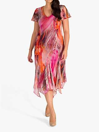 Chesca Abstract Print Dress, Magenta/Multi