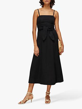 Whistles Linen Tie Belt Midi Dress, Black
