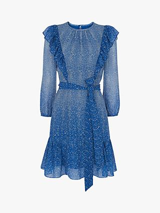 Whistles Floral Frill Dress, Blue/Multi